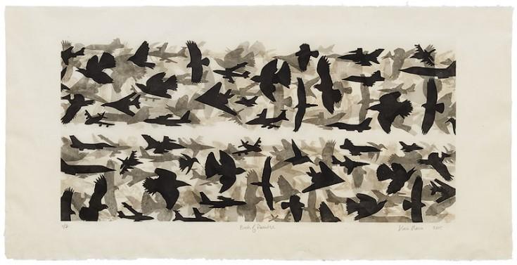 Maria: Birds of Paradise (monochrome version): direct gravure etching on Fukutora