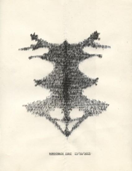 Clayton: Rorschach Test: typewriter paper and ink: 2015